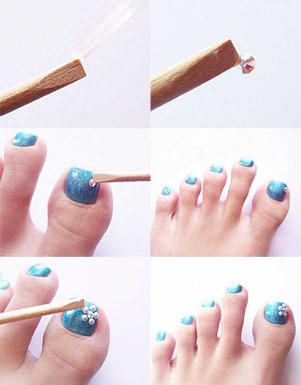 Дизайн ногтей на ногах с украшениями
