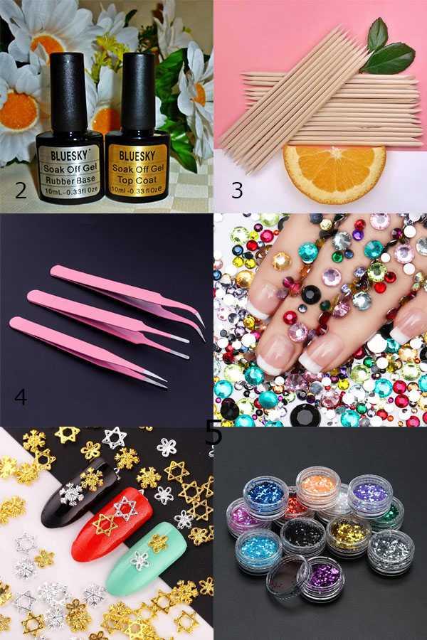 Финиш, апельсиновая палочка, пинцет, украшения для ногтей