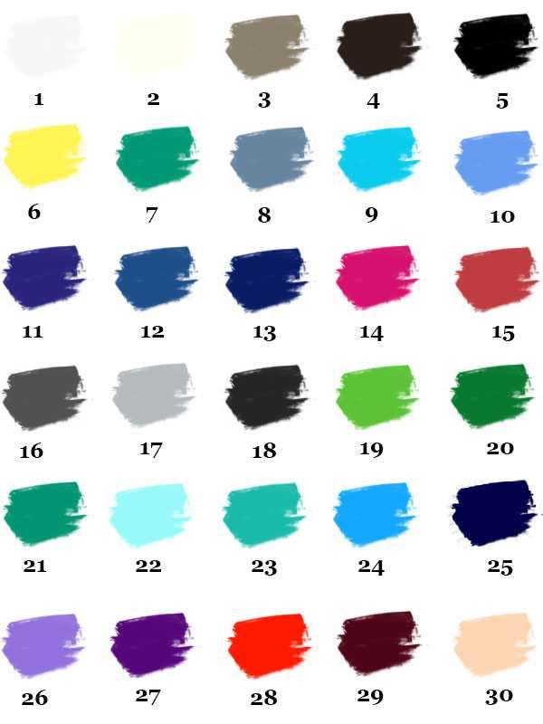 Основная палитра цветов для контрастного колорита