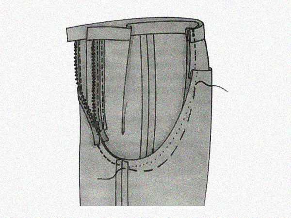 Исправить на брюках складку под ягодицами